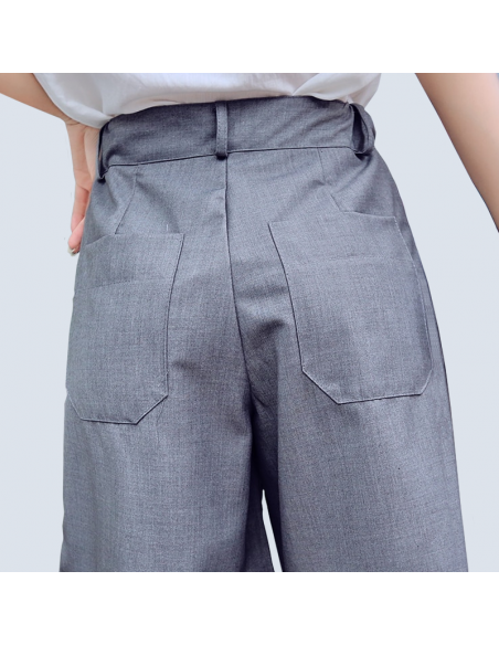 Women's Gray Bermuda Shorts with Pockets (Back View)