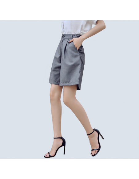 Women's Gray Bermuda Shorts with Pockets (Side View)