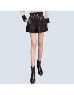 Women's Black Faux Leather Shorts with Pockets