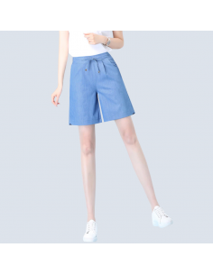 Women's Steel Blue Cotton Shorts with Pockets