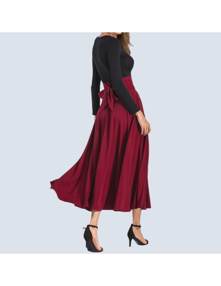 Crimson Red Maxi Skirt with Pockets (Side View)