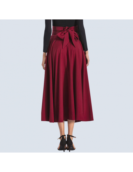 Crimson Red Maxi Skirt with Pockets (Back View)