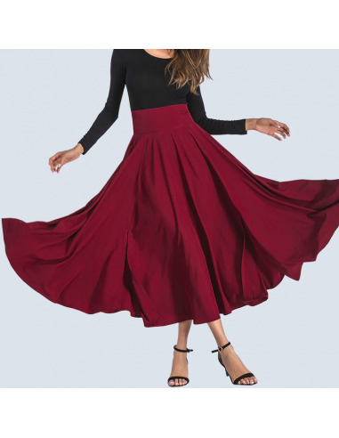 Crimson Red Maxi Skirt with Pockets