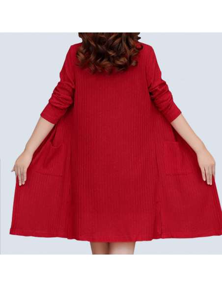 Women's Red Long Ribbed Cardigan with Pockets (Back)