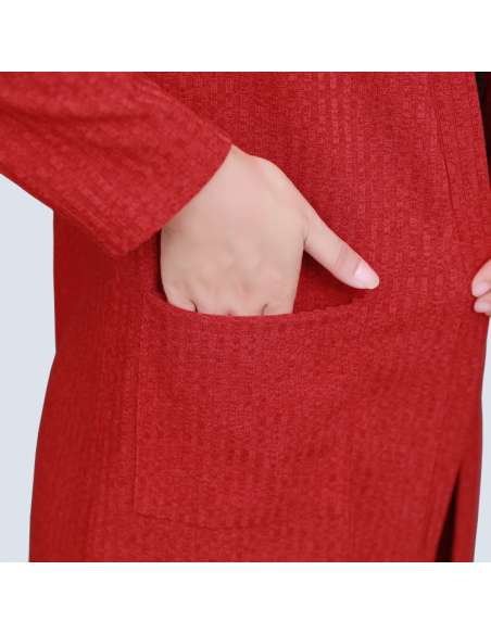 Women's Red Long Ribbed Cardigan with Pockets (Pocket Closeup)