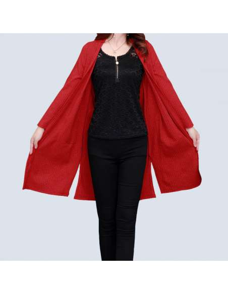 Women's Red Long Cardigan with Pockets (Open Front)