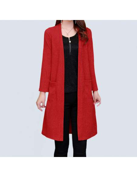 Women's Red Long Ribbed Cardigan with Pockets (Front)