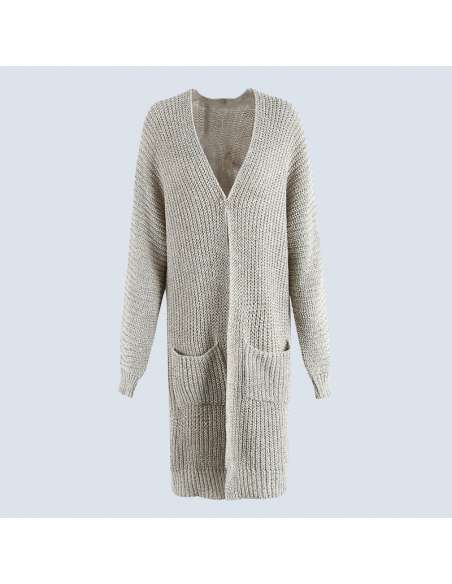 Women's Light Gray Oversized Chunky Knit Cardigan with Pockets (Front)