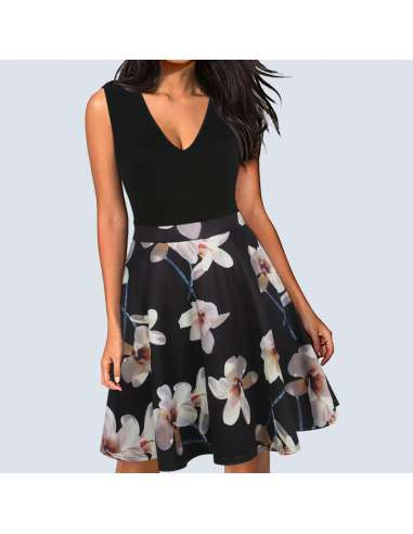 Vintage Style Black Orchid Print Midi Dress with Pockets (Model)