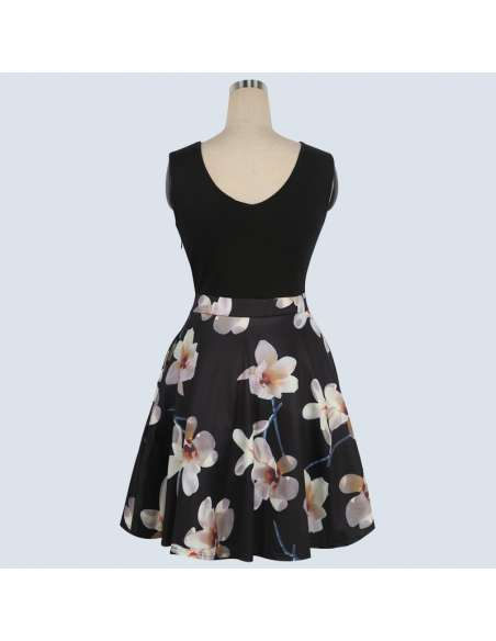 Vintage Style Black Orchid Print Midi Dress with Pockets (Back)