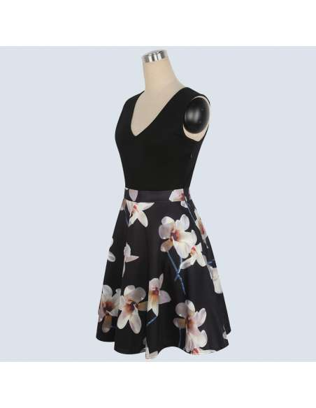 Vintage Style Black Orchid Print Midi Dress with Pockets (Side)