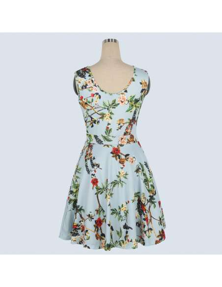 Vintage Style Sky Blue Floral Print Midi Dress with Pockets (Back)