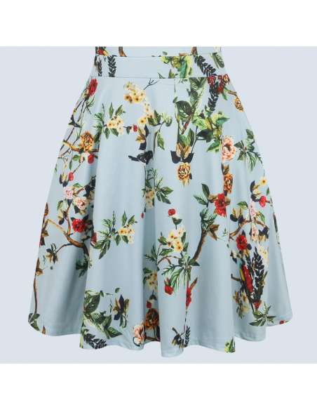 Vintage Style Sky Blue Floral Print Midi Dress with Pockets (Skirt Closeup)
