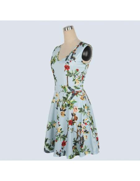 Vintage Style Sky Blue Floral Print Midi Dress with Pockets (Side)