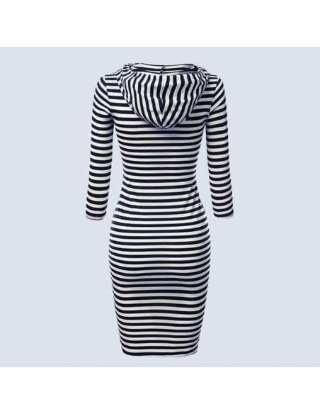 Black & White Striped Hoodie Dress with Pockets (Back View)