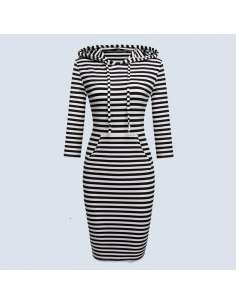 Black & White Striped Hoodie Dress with Pockets (Front View)