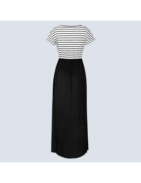 Black & White Striped Maxi Dress with Pockets (Back View)