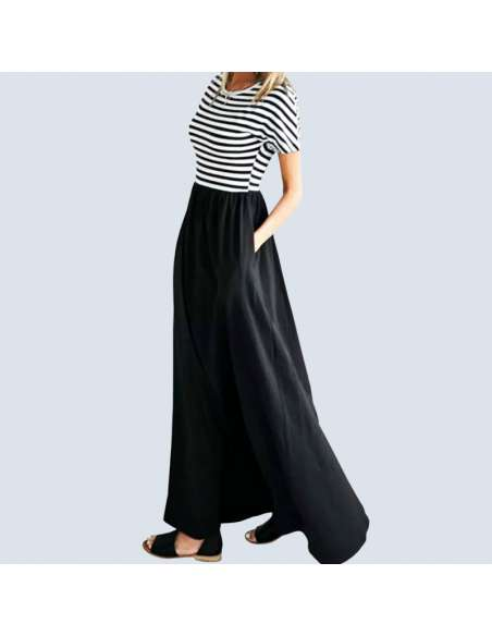 Black & White Striped Maxi Dress with Pockets (Model Side View)