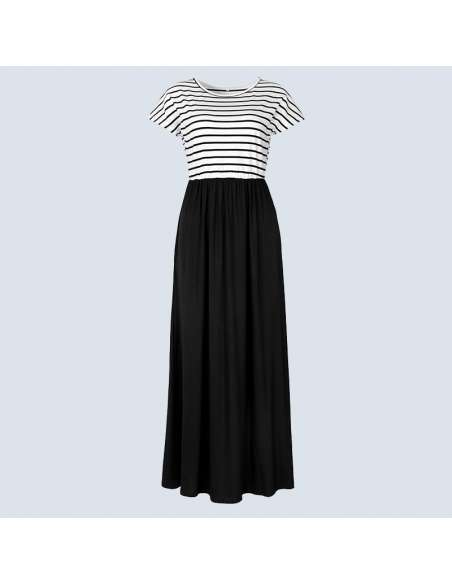 Black & White Striped Maxi Dress with Pockets (Front View)