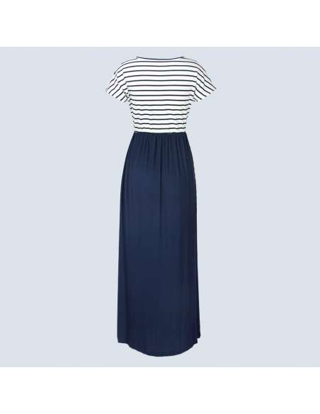 Navy Blue & White Striped Maxi Dress with Pockets (Back View)