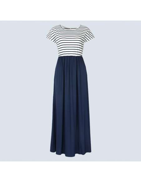 Navy Blue & White Striped Maxi Dress with Pockets (Front View)