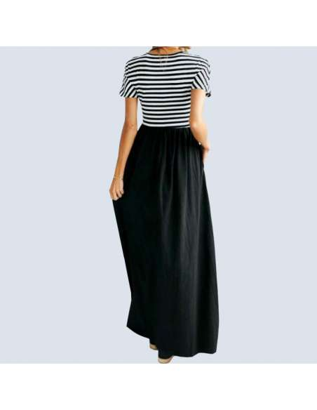 Black & White Striped Maxi Dress with Pockets (Model Back View)