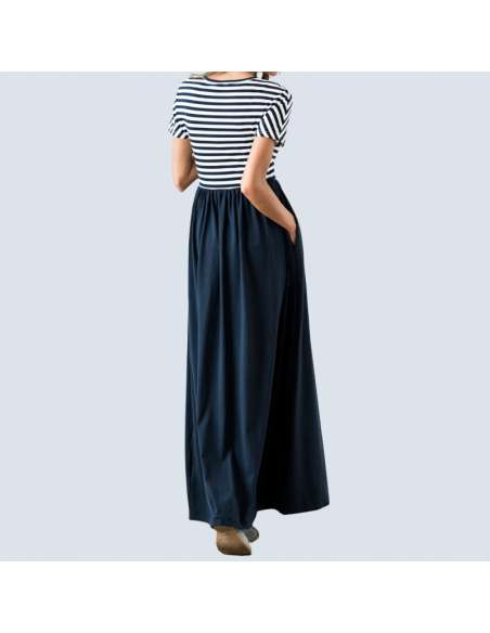 Navy Blue & White Striped Maxi Dress with Pockets (Model Back View)