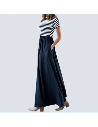 Navy Blue & White Striped Maxi Dress with Pockets (Model Side View)