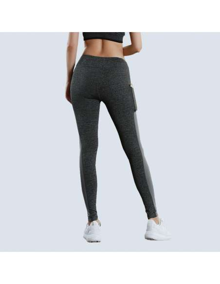 Gray Phone Pocket Leggings (Model Back View)
