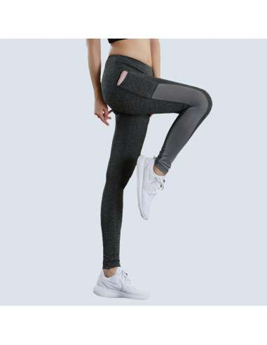 Gray Pocket Running Leggings (Model Side View)