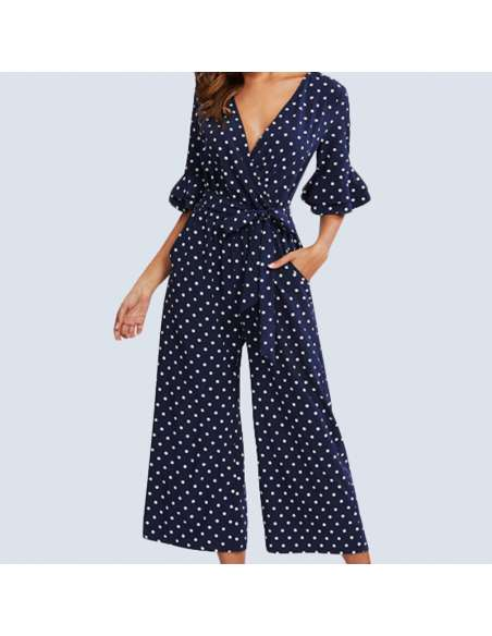 Navy Blue Polka Dot Jumpsuit with Pockets (Front Mid View)