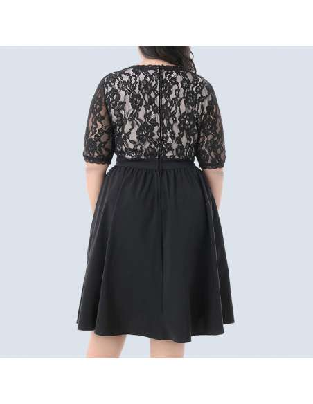 Black Plus Size Vintage Lace Party Dress (Back View)