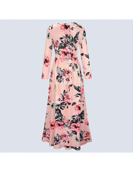 Pink Long-Sleeved Floral Maxi Dress with Pockets (Back View)