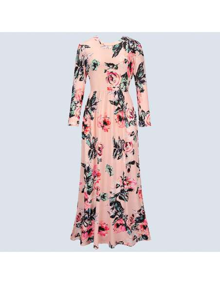 Pink Long-Sleeved Floral Maxi Dress with Pockets (Front View)