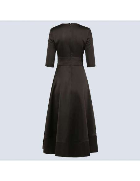 Black V-Neck Fit and Flare Pocket Dress (Back View)