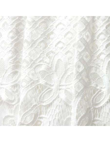 White Hollow Out Lace Pocket Dress (Fabric Closeup)